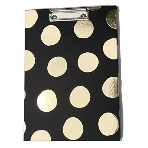 Black Clipboard Padfolio Dottie Collection Gold Foil Polka-Dots hot sale