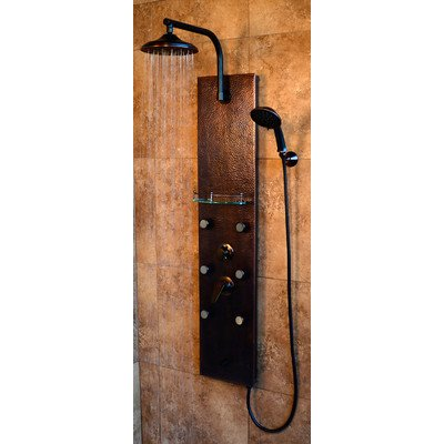 Pulse 1041 ShowerSpa Sedona 52 in. 6-Jet Panel System with Hand Shower in Hammered Copper and Oil Rubbed Bronze