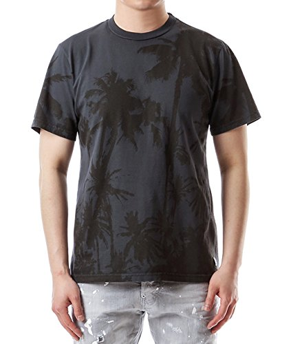 Wiberlux Golden Goose Men's Palm Tree Print T-Shirt XS Dark Gray by Wiberlux