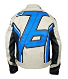 F&H Men's Beige Overwatch Soldier 76 John ''Jack'' Morrison Genuine Leather Jacket L Multi
