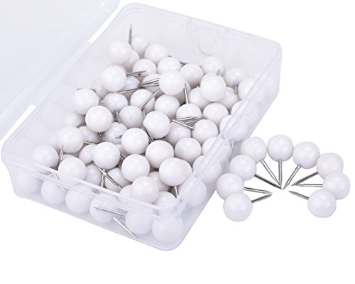 JoyFamily 3/8 Inch Round Head Push Pins,Thumb Tacks Used on Cork Boards or Maps,Pack of 100PCS(White)