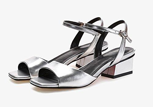 Zcjb Talon Chaussures D'été Argent Femme Cuir Creuses Milieu Sandales RqwxHdH4