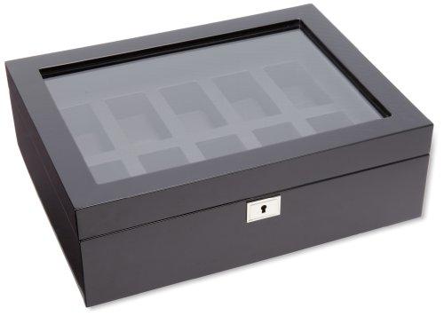 WOLF 461670 Savoy Ten Piece Watch Box, Black