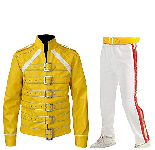 CHICAGO-FASHIONS Mens Freddie Mercury Wembley Tribute Concert Belted Yellow Faux Leather Costume Jacket]()