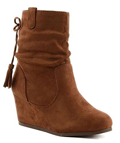 City Classified Ziva Imitation Suede Tassel Tie Back Wedge Ankle Boot (8.5, Cognac) Suede Scrunch Boot