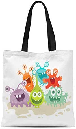 Semtomn Cotton Canvas Tote Bag Cartoon Monsters Funny Smiling Germs Character Big Eyes Reusable Shoulder Grocery Shopping Bags Handbag Printed