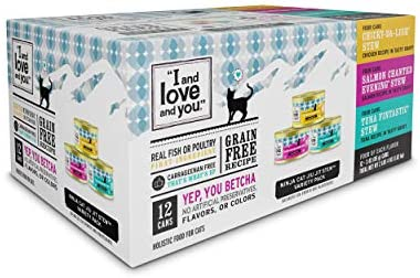 """""""I and love and you"""" Naked Essentials Canned Wet Cat Food – Variety Pack: Chicken Stew Recipe, Salmon Recipe, Tuna Recipe, 3-Ounce, Pack of 12 Cans"""