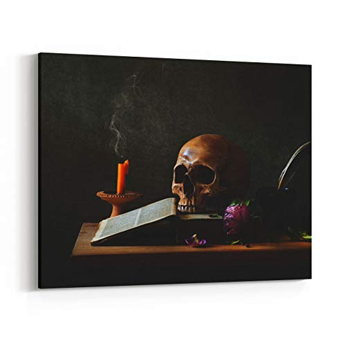 Rosenberry Rooms Canvas Wall Art Prints - Still Life Art Photography On Human Skull Skeleton with Desk (48 x 32 inches) ()