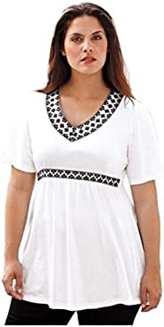 TONSEE Women Plus Size Summer V Neck T Shirts Loose Tops