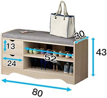 玄関ベンチ スツール 収納ベンチ 靴収納 ベンチ パッド入りシート2つの引き出し靴キャビネット玄関ベッドルームのために靴ストレージ組織ラックベンチ エントランスベンチ 省スペース (色 : As picture, サイズ : 80x30x43cm)