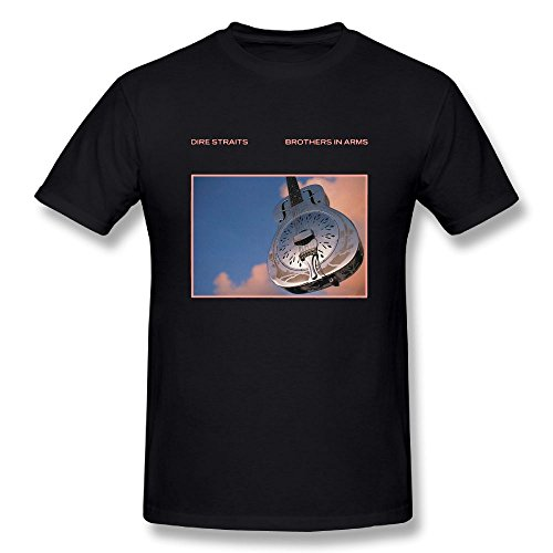 UrsulaA Mens Fashion Dire Straits Brothers in Arms T Shirt Black L