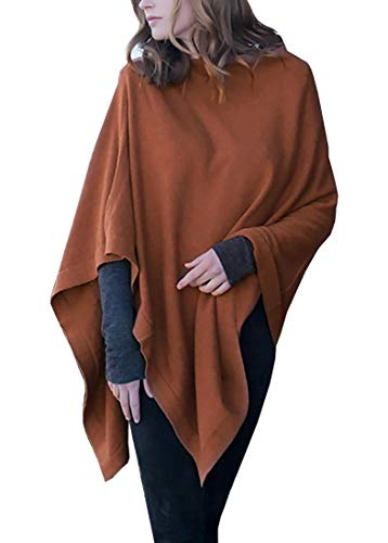 100% Organic Cotton 5-Way Knit Poncho Sweater Pullover Cardigan Topper, Super Soft, All-season (15 COLORS) (Caramel Heather)