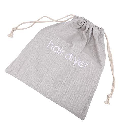 Senkary Hair Dryer Bags Drawstring Hairdryer Travel Bag Cotton Hair Dryer Storage Bag, 11.8 Inch by 13.8 Inch (Light Gray)
