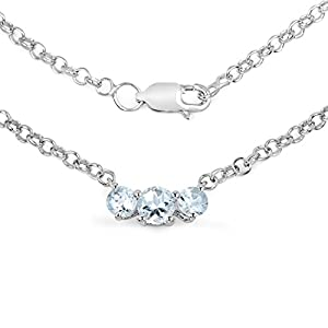 Johareez 0.95 cts Aquamarine .925 Sterling Silver Rhodium Plated Necklace for Women