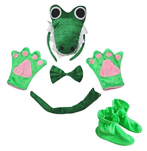Petitebella 3D Headband Bowtie Tail Gloves Shoes Unisex Children 5pc Costume (3D Green (Baby Crocodile Costume)