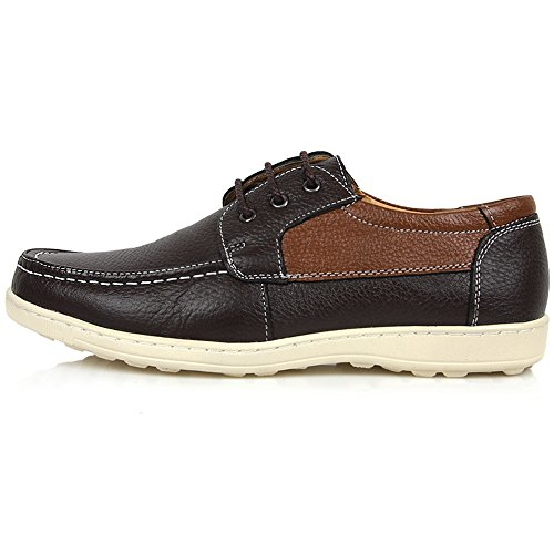 New Mens Casual Leather Lace up Oxford Formal Dress Sneakers Boat Shoes Brown Gc2MpCAY4