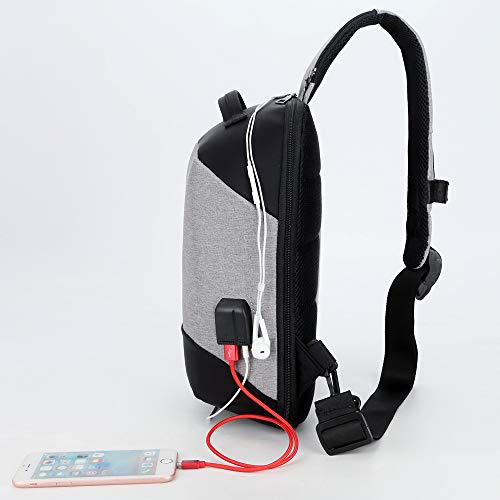 Crossbody Cloth And Charge W Oxford Gray Jack Port Earphone Black Wentao Sling usb women Men Casual Charging Usb Bag Uazzxw8qS6