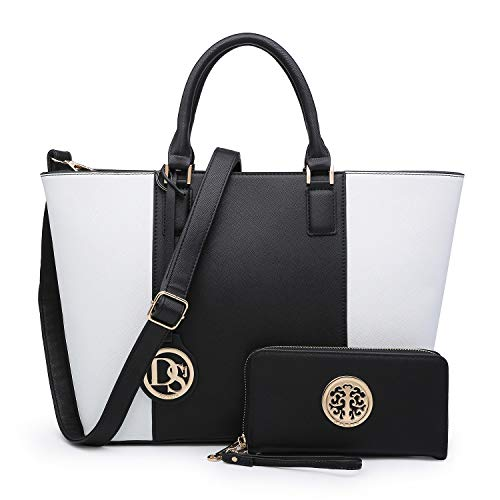 (Marco Stylist Fashion Women Satchel/Tote handbags with Free Matching Wallet/Wristle(6417w-black/White))