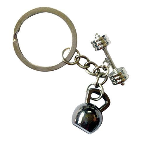 Kettlebell and Barbell Keychain (Black)