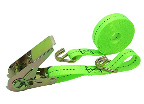 WINGONEER Hd Strap Ratchet Tie Down w/ double j Hook Truck towing Cargo hauling - Light green by WINGONEER®