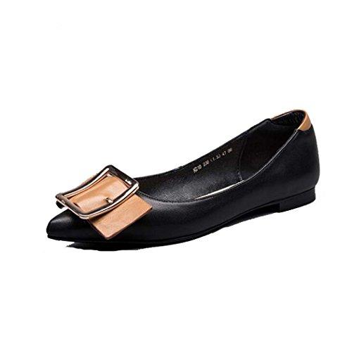 Zapatos Planos Ocasionales de la Mujer Zapatos de la Hebilla del Cinturón de la Bomba Negro/Blanco Talla 34-39 (Color : Negro, Tamaño : 39)