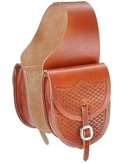 Amazon.com : Showman Tooled Leather Saddle Bag : Sports & Outdoors