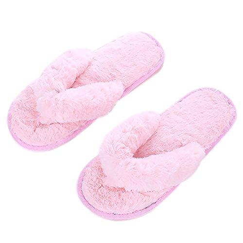 Lovely 37 Rose Automne Chaud 36 Chaussons Hiver Paire 1 pour Pantoufle en Peluche Femme Cosanter Créatif Et Tongs UTZHn