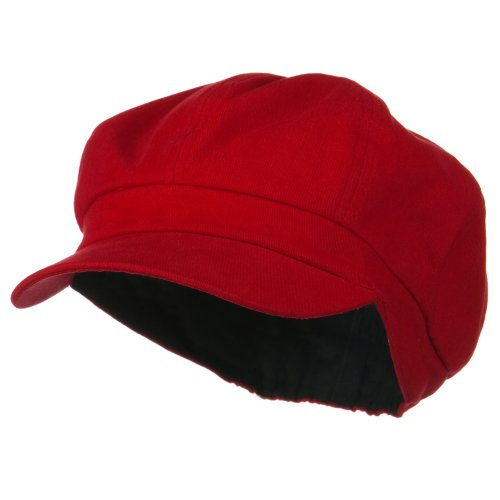 Cotton Elastic Big Size Newsboy Cap - Red 2XL-3XL by E4hats (Image #5)