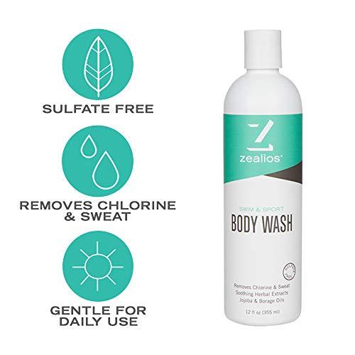 (Zealios Swim & Sport Body Wash (12 oz) - Moisturizing Swim Body Wash Made with Aloe and Jojoba Oil)