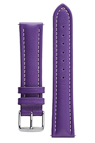 Signature Bali Purple 18 mm Waterproof Watch Band Calf Leather Watch Strap Replacement Bracelet. Silver Buckle