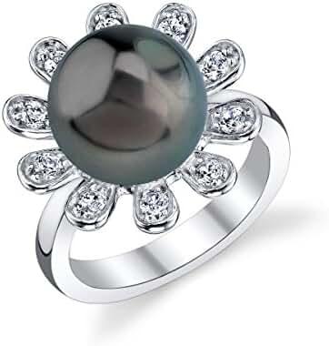 11mm Tahitian South Sea Cultured Pearl & Crystal Felicia Ring