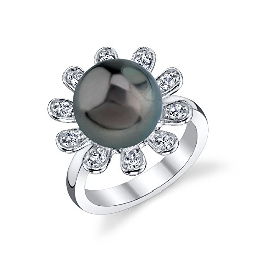 (THE PEARL SOURCE 11-12mm Genuine Black Tahitian South Sea Cultured Pearl & Cubic Zirconia Felicia Ring for)