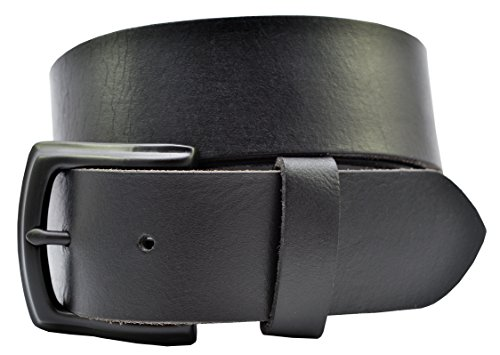 Men's Full Grain Solid One Piece Black Leather Belt w/ Black Buckle by TheBeltShoppe.com - Cowhide Buckle