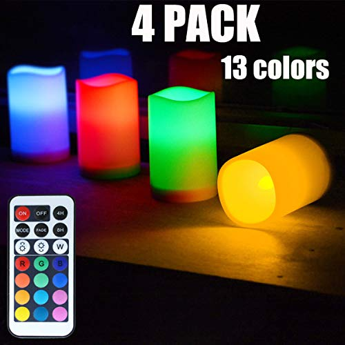 Chasgo 4PCS Flameless Candles Battery Operated Fake Candles Light with Remote Control Candles Changing Color Candle Sets for Wedding Decor, Christmas Decor, Birthday and Room -