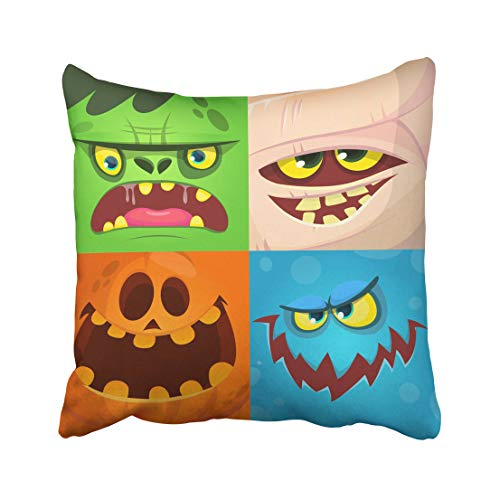 Emvency Blue Halloween Cartoon Monster Faces Cute Avatars