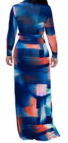 Dresses Neck Split Blue Printed Women's Elegant Long Maxi Sleeve Bodycon V Maxi Cromoncent Dark 8XPqOq