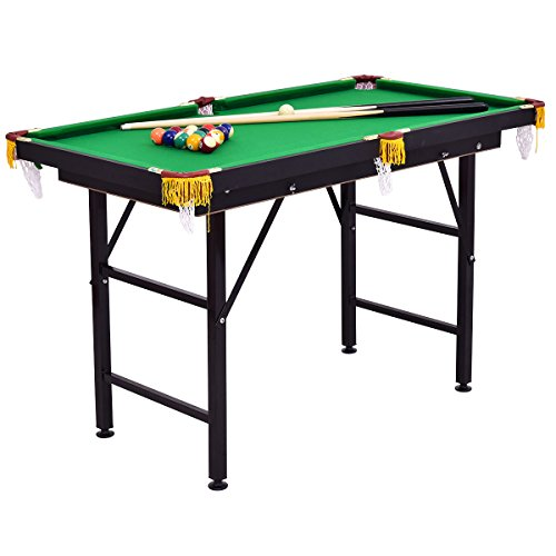 "Costzon 47"" Folding Billiard Table, Pool Game Table Includes Cues, Triangle, Chalk, Brush for Kids (Black & Green)"