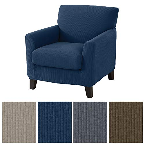 Great Bay Home 2 Piece Spandex Fabric Slipcover. Ultra Soft and Durable, Stretch Furniture Cover/Protector, Stays in Place. Analise Collection (Chair, Dark ()