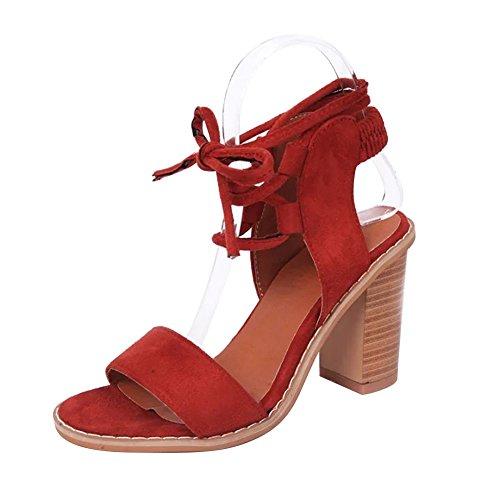 Zapatos Rojo Grueso Cordones Tacón Madera Romanas Sandalias Zapato Vendaje de Alto Mujer Talón de Gamuza Talón Zapatillas Verano xwTqvpnA