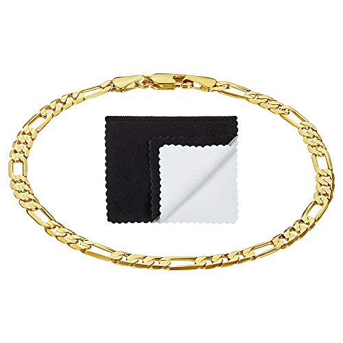 4mm-9.3mm 14k Yellow Gold Plated Concave Figaro Link Bracelet + Microfiber Jewelry Polishing Cloth
