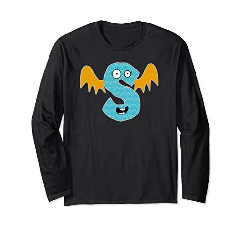 Alphabet S Monster Cute Fun Scary Creature Monogram Initial  Long Sleeve ()