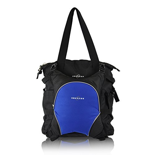 Obersee Innsbruck Diaper Bag Tote with Cooler, Black/Royal Blue by Obersee by Obersee