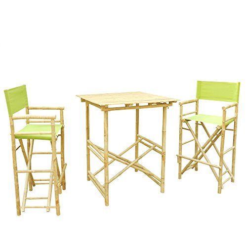 Zero Emission World Set of 1 High Table and 2 High Director Chairs, Green, Square by Zero Emission World