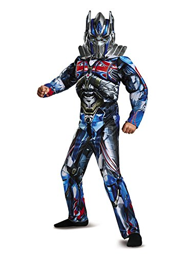 Prime Costumes Optimus Transformer (Disguise Optimus Prime Movie Classic Muscle Costume, Blue, Medium)