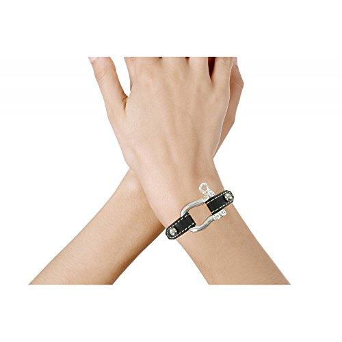 Les Poulettes Bijoux - Bracelet Cuir et Manille Argent 925 - Cuir Fuchsia