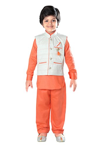 ahhaaaa Kids Indian Ethnic Wear Bollywood Style Kurta Pyjama and Waistcoat Set for Boys by ahhaaaa