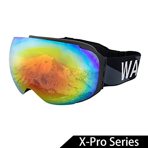 - WACOOL Multicolor Professional Snowboard Ski Goggles with Detachable Double Lens Anti-Fog Extra-Large Spherical Lens, Helmet Compatible, Over The Glass, UV400 (X-Pro Series(Revo RedBlack))