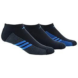 adidas Mens Superlite 3-Pack No Show Sock, Black/Shock Blue/Graphite, Large