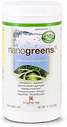 Biopharma Scientific NanoGreens Fruit and Vegetable Superfood Powder | Natural Green Apple Flavor | 30 Servings | Spirulina, Chlorella, Organic Kale, Organic Spinach, Plant Based Enzymes.