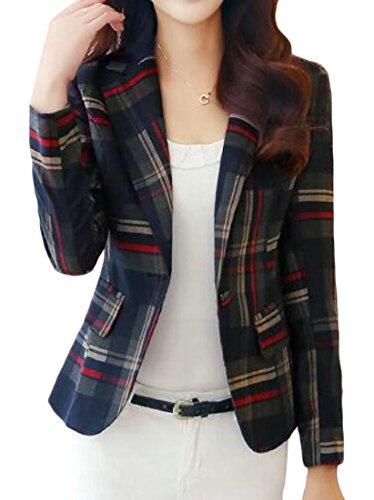 (Jotebriyo Women Slim Fit Plaid One Button Casual Work Office OL Vintage Blazer Jacket Suit Coat 1 L)